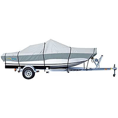 PrimeShield Heavy Duty Waterproof Boat Cover for V-Hull Runabouts, Grey
