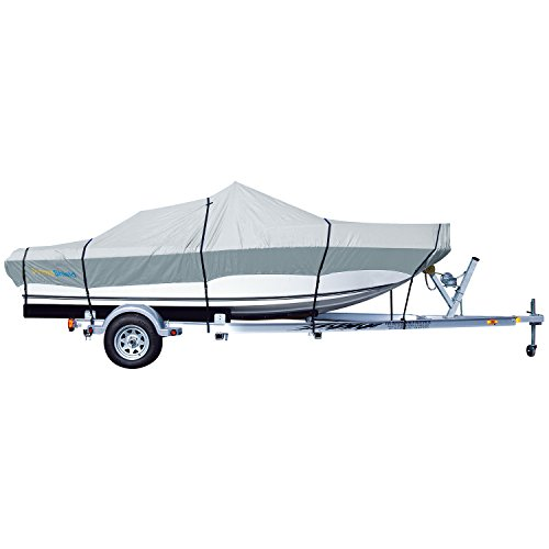 PrimeShield Heavy Duty Boat Cover 600D Waterproof for V-Hull Runabouts 16' - 18.5' Length up to 98