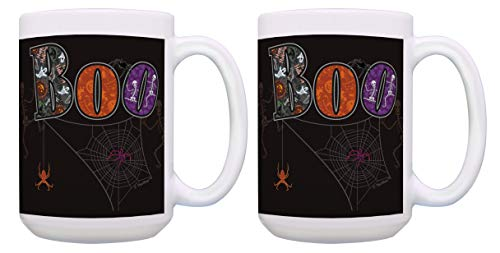 Halloween Gifts Boo Coffee Mug Set Witchy Gifts Boo Set 2 Pack Gift 15-oz Coffee Mugs Tea Cups Multi