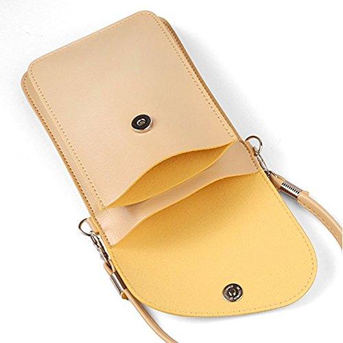 Bag Women Cellphon Shoulder Handbag Leather Crossbody Small YaJaMa Beige Pouch dZcqtU