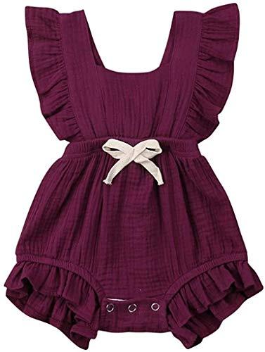 Eastery Baby Kleding Meisjes Zomer 2020 Pasgeboren Baby Meisje Baby Bodysuits Eenvoudige Stijl Monochrome Ruschen…