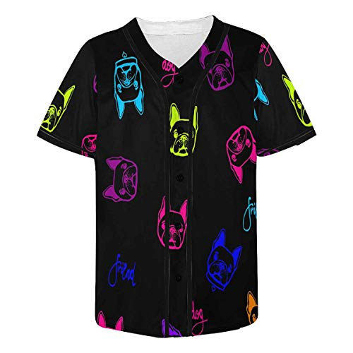 InterestPrint Men's Funny Face French Bulldog with Collar Baseball Jersey Button Down T Shirts Plain Short Sleeve L