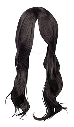 WIG-137-Long Synthetic Wavy Jet Black Wig with Centre (Jet Lace Wig)