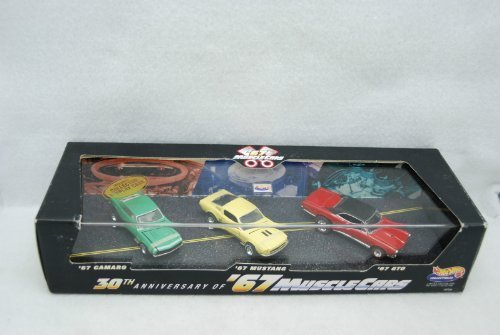 - Hot Wheels Collectibles - 30th Anniversary of '67 Muscle Cars - 1:64 Scale Classic Collector 3Car Set Mounted in Collector Display Case. Includes '67 Camaro, Mustang and GTO Car Replicas by Hot Wheels