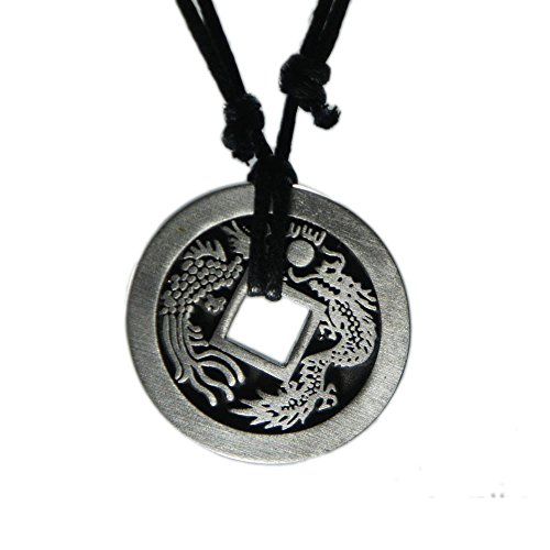 exoticdream Chinese Lucky Coin Charm Pewter Pendant + Rope Necklace Adjustable - Dragon Peacock