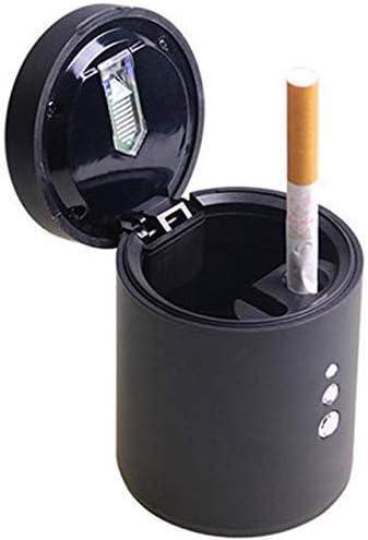 車の灰皿, ユニバーサル車の6,5x8,4cm用LEDライト(シルバーブラック)、色が付いている車の灰皿灰皿灰皿車のシガー:ブラック (Color : Black)