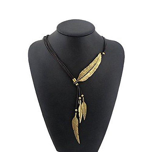 Lantusi Vintage Feather Pendant Necklaces, Multilayer Bronze Rope Chain Choker For Women (Vintage Black & Gold Necklace)