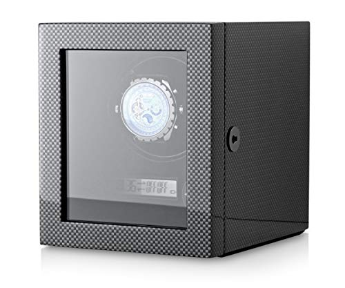 Automatic Watch Winder with LED Backlight and LCD Display for a Single Watch (Carbon)