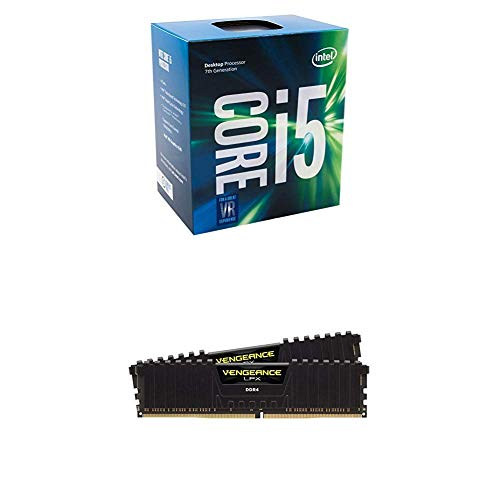 Intel Core i5-7500 LGA 1151 7th Gen Core Desktop Processor and CORSAIR Vengeance LPX 16GB (2x8GB) DDR4 DRAM 2400MHz C14 Memory Kit - Black - Intel Memory Dram