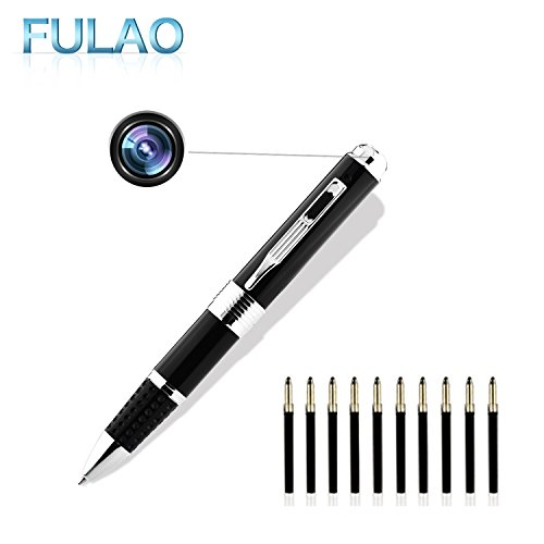 Fulao Spy Pen Cam,HD 1080P Nanny Convert Security Portable Camera