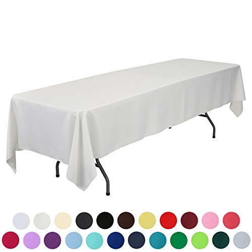 VEEYOO 60 x 126 inch Rectangular Solid Polyester Tablecloth for Wedding Restaurant Party, Ivory