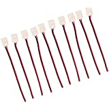 Generic 2 Pin 8mm Width Connector Adapter Line Single Color 3528 Led Strip Lights Pack Of 10