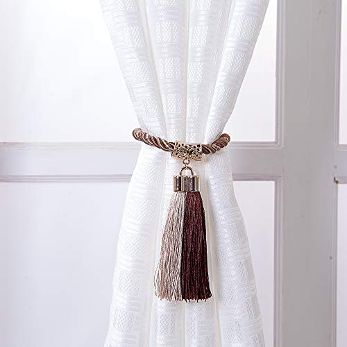 PRAVIVE Extra Long Decorative Tassel Rope Tie Backs for Large Window Curtain, Hand Knitting Buckle Cord Drapery, Set of 2, Beige & Coffee