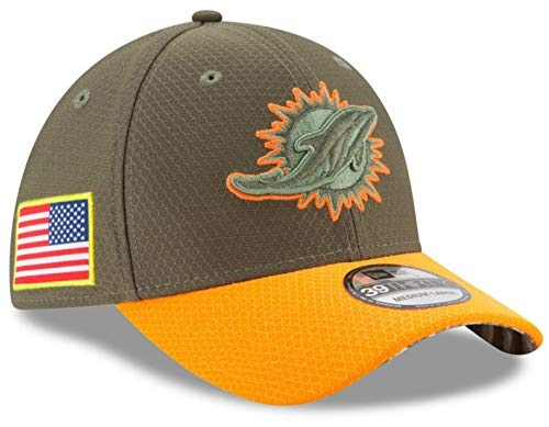 - Miami Dolphins Medium/Large Salute to Service Flex Fit Hat Cap - Army Green & Orange