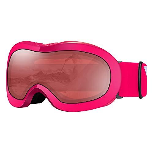VELAZZIO Kids Ski Goggles, Snowboard Goggles OTG Snow Goggles Anti-Fog Double-Layer Lenses, 100 UV Protection