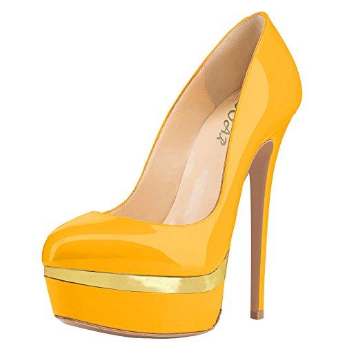 femme AOOAR Gelb Lackleder Und chaussures compensées Gold qEPwnSEtpx