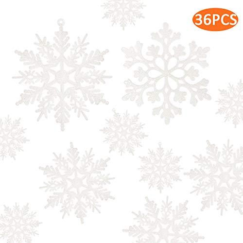 kockuu 36pcs Plastic Snowflakes White Glitter Snowflake Ornaments for Christmas Tree Decorations (Tree White Glitter)