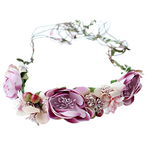 Vivivalue Vine Flower Crown Flower Garland Headband Hair Wreath Floral Headpiece Halo Boho with Ribbon Wedding Party Festival Photos Pink