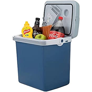 Knox Electric Cooler and Warmer for Car and Home with Automatic Locking Handle - 34 Quart (32 Liter) - Holds 30 Cans - Dual 110V AC House and 12V DC Vehicle Plugs