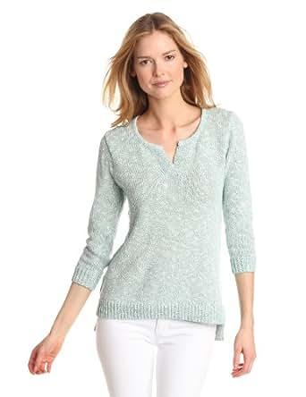 Lilla P Women's Marled 3/4 Sleeve Split Neck Sweater, Enamel,Large