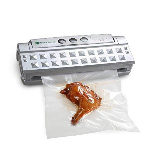 Vakuumierer, Upow Folienschweißgerät Automatisches Vakuumiergerät für die Aufbewahrung von Nahrungsmitteln mit einem Einsteigerpaket Folienschweißgerät 30 cm lange Schweißnaht / inkl. 10 gratis Profi-Beutel (Silber)