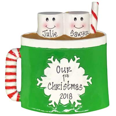 Hot Chocolate with Marshmallows Family Personalized Christmas Tree Ornament (family of 2)