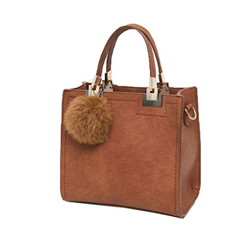 Topker Ball Bags Pu Brown Solid Bags Tassel Shopping Girl Big Women With Leather Bag Shoulder Lady Bag Messenger SrS5T7x