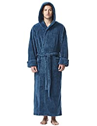 Arus Men's Fleece Robe, Long Hooded Turkish Bathrobe