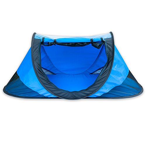 Baby Nook Travel Bed and Beach Tent (Blue), Provides Shade and Shelter, Baby Sun Tent Includes Exclusive AIR Baby NAP MAT for Weight Stability and Comfort, and Bonus Picture Guide for Easy Folding (Outdoor Indoor Bed Travel)