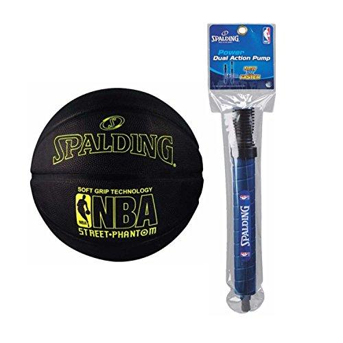 Spalding NBA Street Phantom Outdoor Basketball (29.5'', Yellow/Black) and pump by Spalding