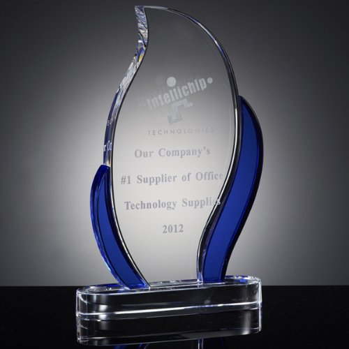 Awards and Gifts R Us Customizable Blue Optical Crystal Flame Trophy Gift Boxed, includes Personalization