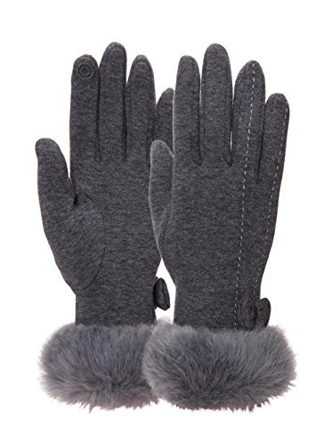 [EBMORE Womens Bowknot Touch Screen Warm Winter Gloves For Cold Weather (Grey)] (Warm Costumes)