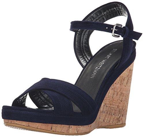Stuart Weitzman Women's Minky Wedge Sandal, Nice Blue, 10 M US