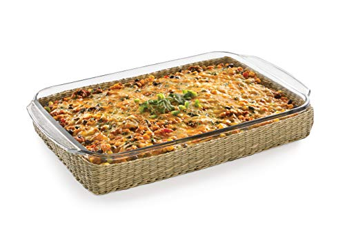 Glass Casserole Baking Dish with Basket, 9-inch by 13-inch ()