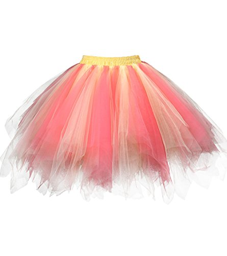 Dresstore Women's Short Vintage Petticoat Skirt Ballet Bubble Tutu Multi-colored Coral-Yellow S/M -