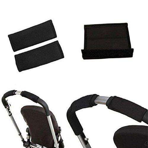 Koedu 2 Pair Baby Pram Stroller Handle Covers, Black Neoprene Magic Tape Rotary Bumper Bar Cover Single Bar Grip Sleeve Covers for Stroller Pram