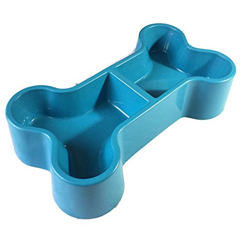 ALONG Dog Cat Double Raise Bowls Plastic Food Water Container. BPA Free Dog Bone - Alley Brand Review