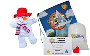 """Make Your Own Stuffed Animal """"Icicle the Snowman w/Red Hat and Scarf"""" - No Sew - Kit With Cute Backpack!"""