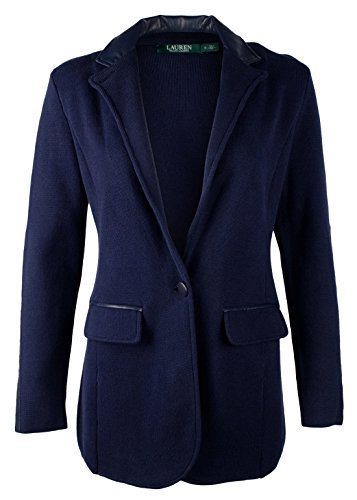 (RALPH LAUREN Lauren Navy Pleather-Trim Single-Button Sweater Jacket)