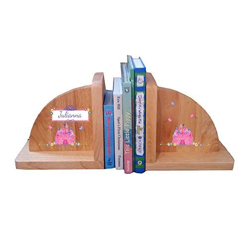 Personalized Princess Castle Natural Childrens Wooden Bookends by MyBambino