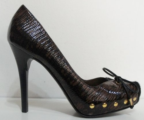 Moda In Pelle , Damen Pumps Schwarz Brown / Black (Animal Print) 3 UK / 36 EU