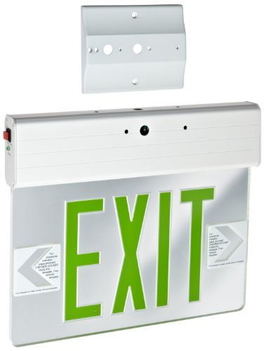 Morris Products 73316 Surface Mount Edge Lit LED Exit Sign, Green on clear Panel Color, White Housing - Edge Lit Led Exit Sign