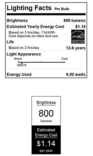 Westinghouse Lighting 4516000 9.5 (60 Watt Equivalent) Omni A19 Bright Energy Star LED Light Bulb, Medium Base, 4 Pack, 4-Pack, Warm White (3000 Kelvin), 4 Count