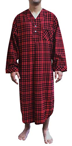 (Stafford - Men's Flannel Nightshirt (Small, Red Plaid))