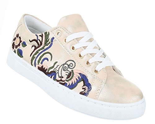 Damen Schuhe Freizeitschuhe Used Optik Sneakers Turnschuhe Schwarz Gold