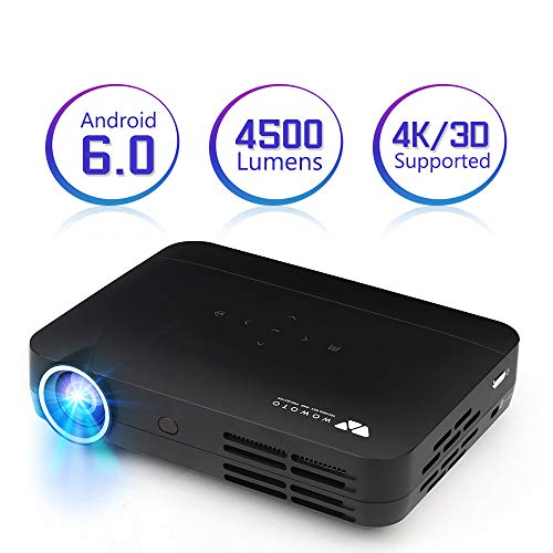 Projector WOWOTO H10 4500 Lumens Mini Projector Android 6.0 3D LED DLP 1280x800 Real Home Theater Projector Support 4K 1080P Wireless Screen Share Video Projector with HDMI USB SD