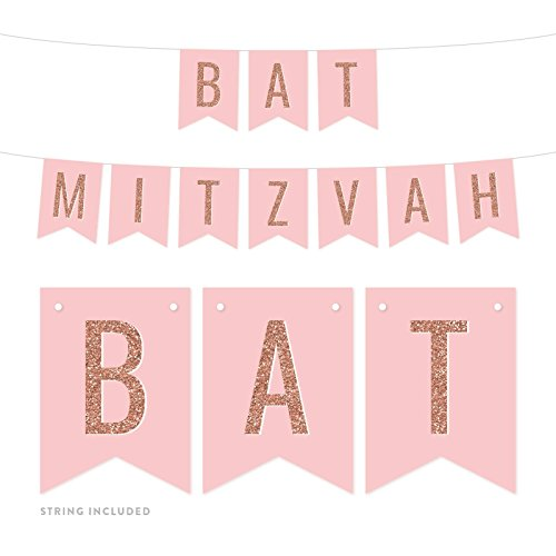 Andaz Press Blush Pink with Faux Rose Gold Glitter Party Banner Decorations, Bat Mitzvah, Approx 5-Feet, 1-Set, Colored Hanging Pennant Decor Supplies ()