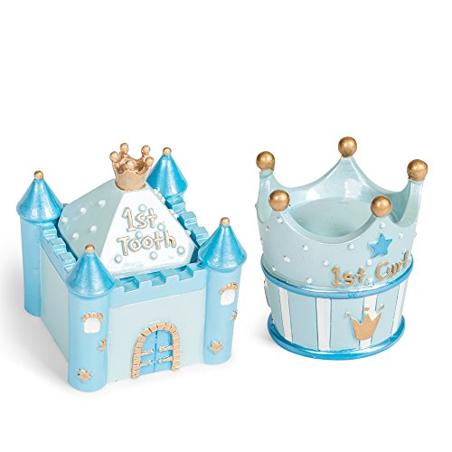 Blue Castle First Tooth and Curl 2 x 2.5 Inch Handpainted Resin Keepsake Box 2 Piece ()