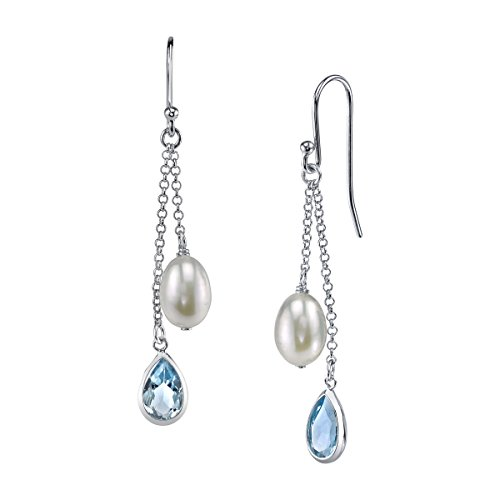 THE PEARL SOURCE 7-8mm Genuine White Freshwater Cultured Pearl & Blue Topaz Royalty Blue Earrings for Women