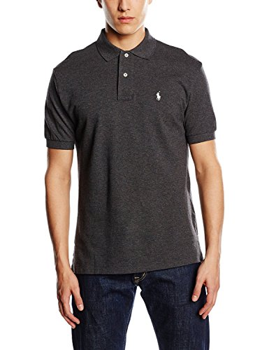 Polo Ralph Lauren Mens Classic-Fit Mesh Short sleeve Polo (BlackHtrWhitePny, - Polo Ralph Lauren
